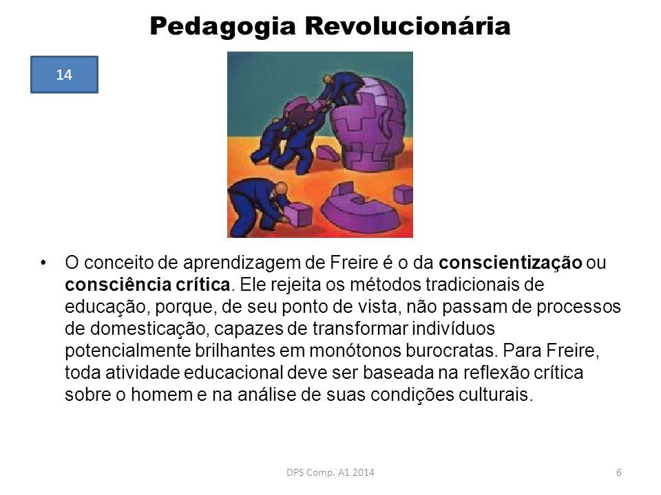 Pedagogia Revolucionária O conceito de aprendizagem de Freire é o da conscientização ou consciência crítica. Ele rejeita os métodos tradicionais de ed
