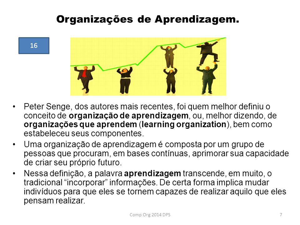 Organizações de Aprendizagem. Peter Senge, dos autores mais recentes, foi quem melhor definiu o conceito de organização de aprendizagem, ou, melhor di