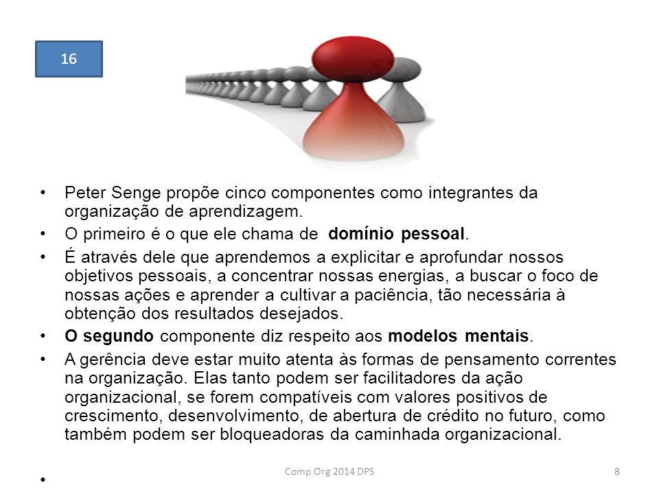 Peter Senge propõe cinco componentes como integrantes da organização de aprendizagem. O primeiro é o que ele chama de domínio pessoal. É através dele