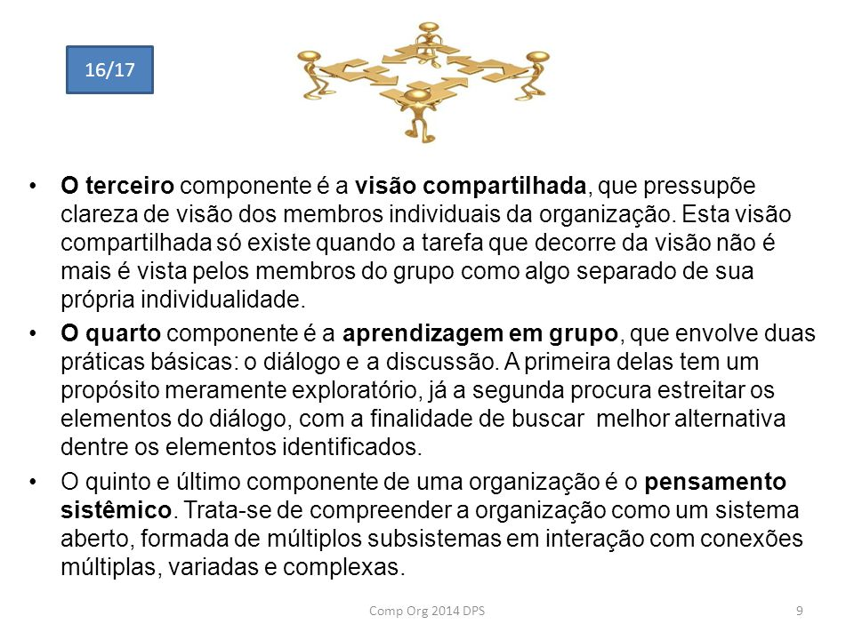 O terceiro componente é a visão compartilhada, que pressupõe clareza de visão dos membros individuais da organização. Esta visão compartilhada só exis