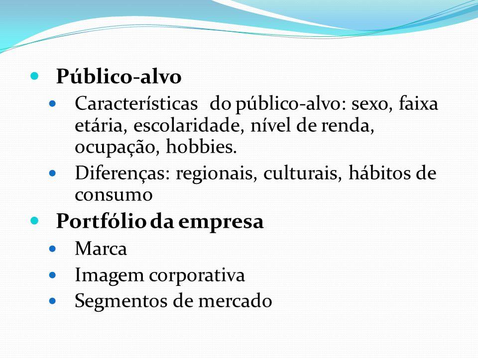 Público-alvo Características do público-alvo: sexo, faixa etária, escolaridade, nível de renda, ocupação, hobbies. Diferenças: regionais, culturais, h