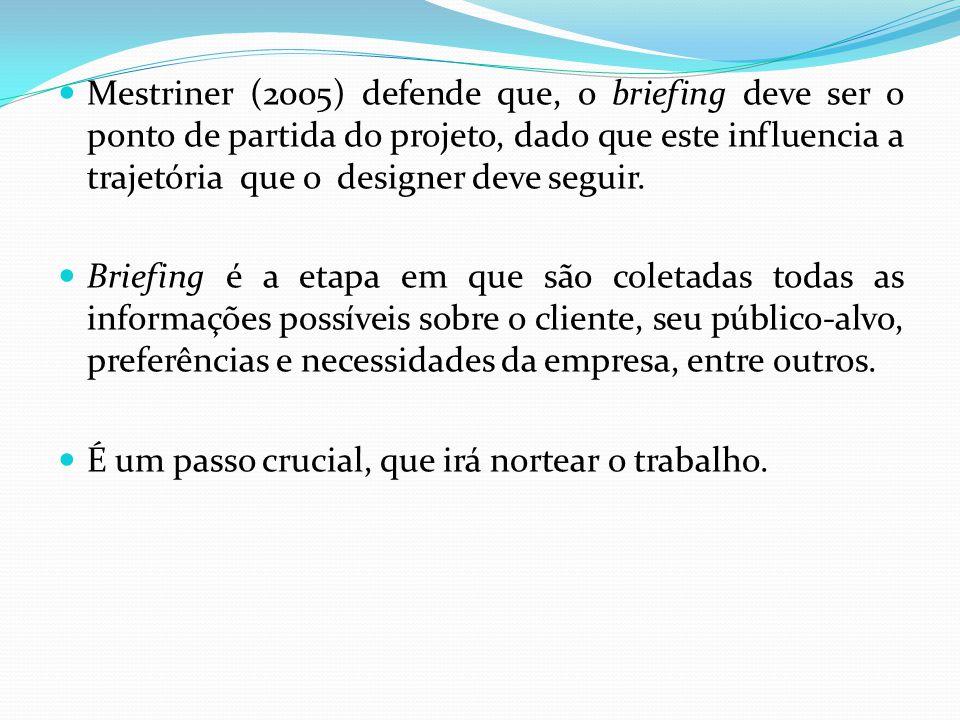 Mestriner (2005) defende que, o briefing deve ser o ponto de partida do projeto, dado que este influencia a trajetória que o designer deve seguir. Bri