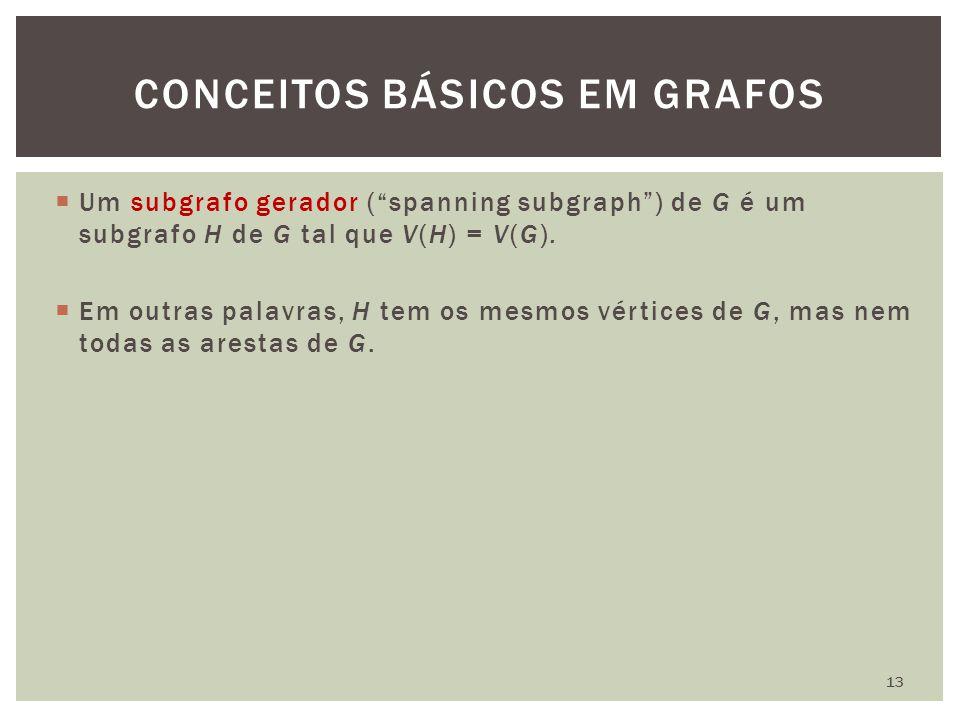 """ Um subgrafo gerador (""""spanning subgraph"""") de G é um subgrafo H de G tal que V(H) = V(G).  Em outras palavras, H tem os mesmos vértices de G, mas ne"""