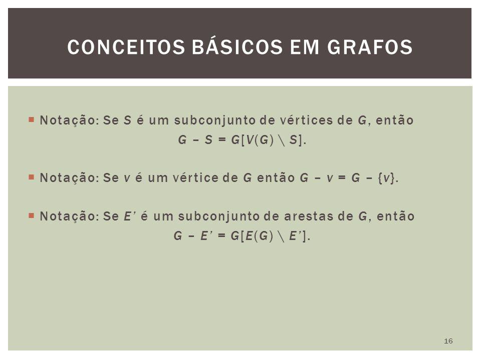  Notação: Se S é um subconjunto de vértices de G, então G – S = G[V(G) \ S].  Notação: Se v é um vértice de G então G – v = G – {v}.  Notação: Se E