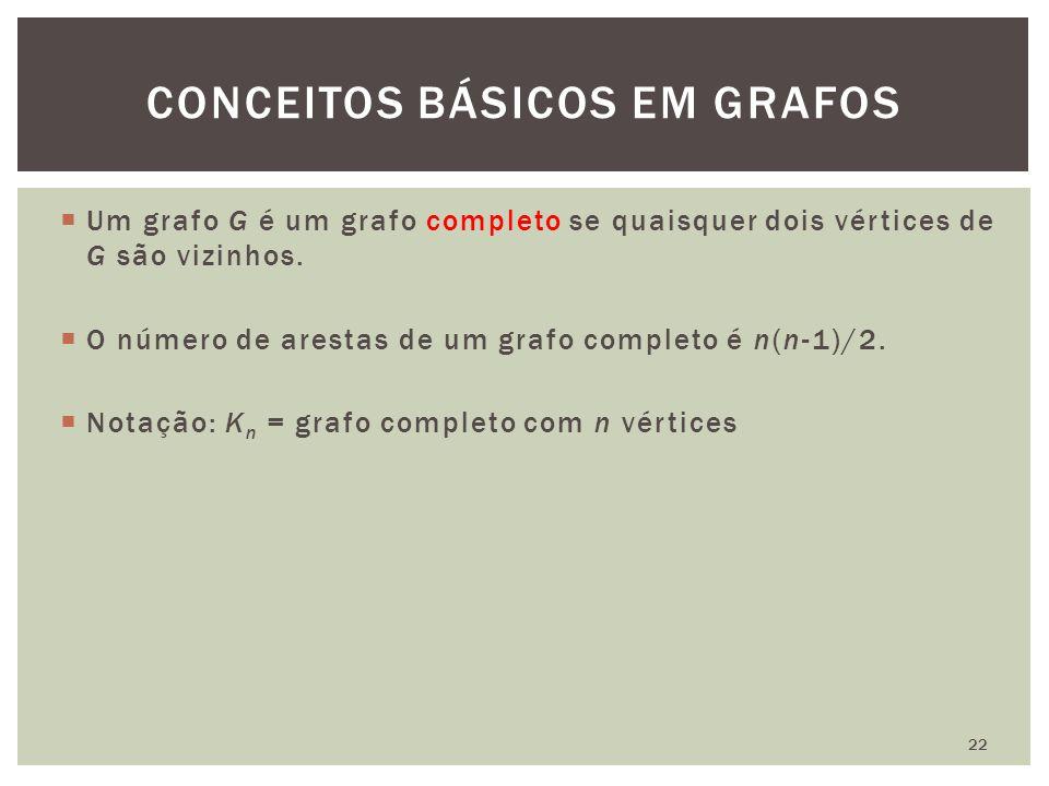 Um grafo G é um grafo completo se quaisquer dois vértices de G são vizinhos.
