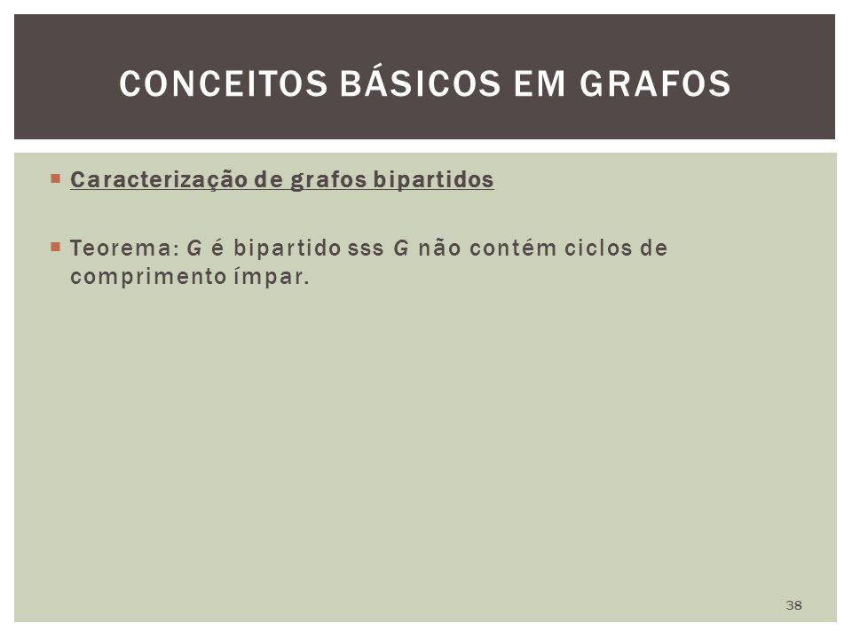  Caracterização de grafos bipartidos  Teorema: G é bipartido sss G não contém ciclos de comprimento ímpar. CONCEITOS BÁSICOS EM GRAFOS 38
