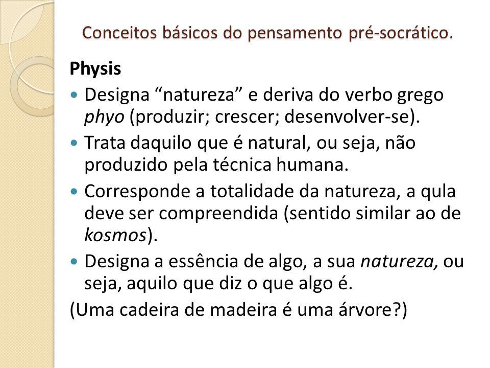 """Conceitos básicos do pensamento pré-socrático. Physis Designa """"natureza"""" e deriva do verbo grego phyo (produzir; crescer; desenvolver-se). Trata daqui"""