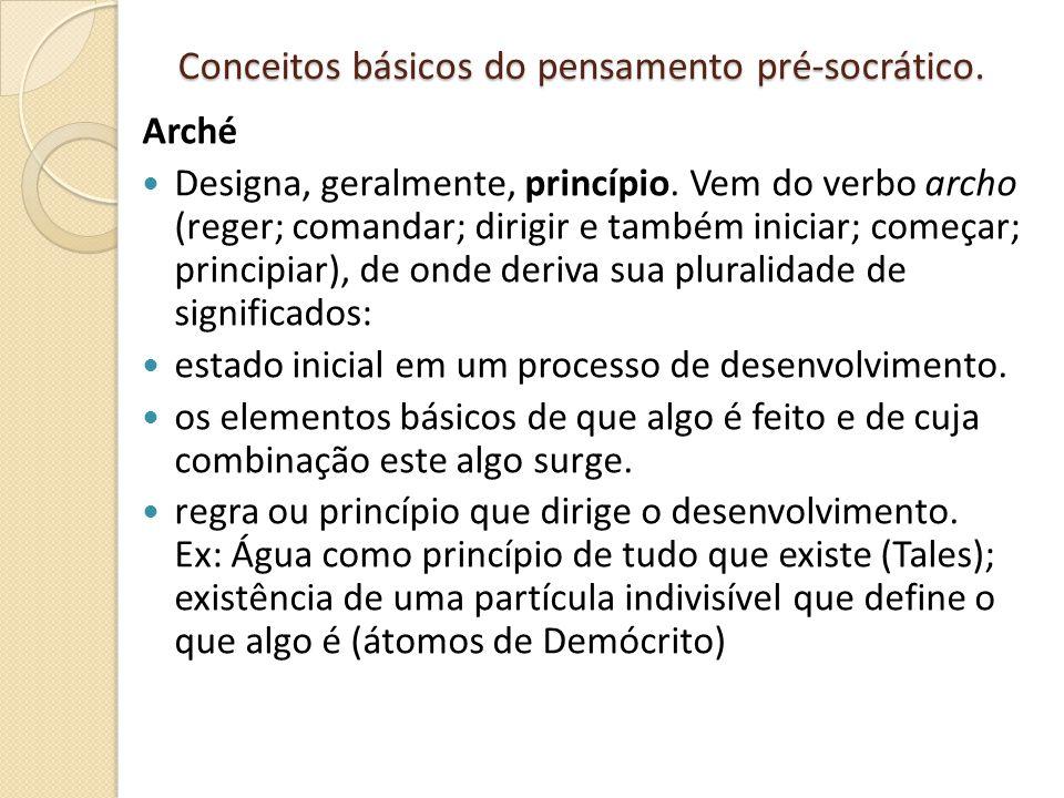 Conceitos básicos do pensamento pré-socrático. Arché Designa, geralmente, princípio. Vem do verbo archo (reger; comandar; dirigir e também iniciar; co