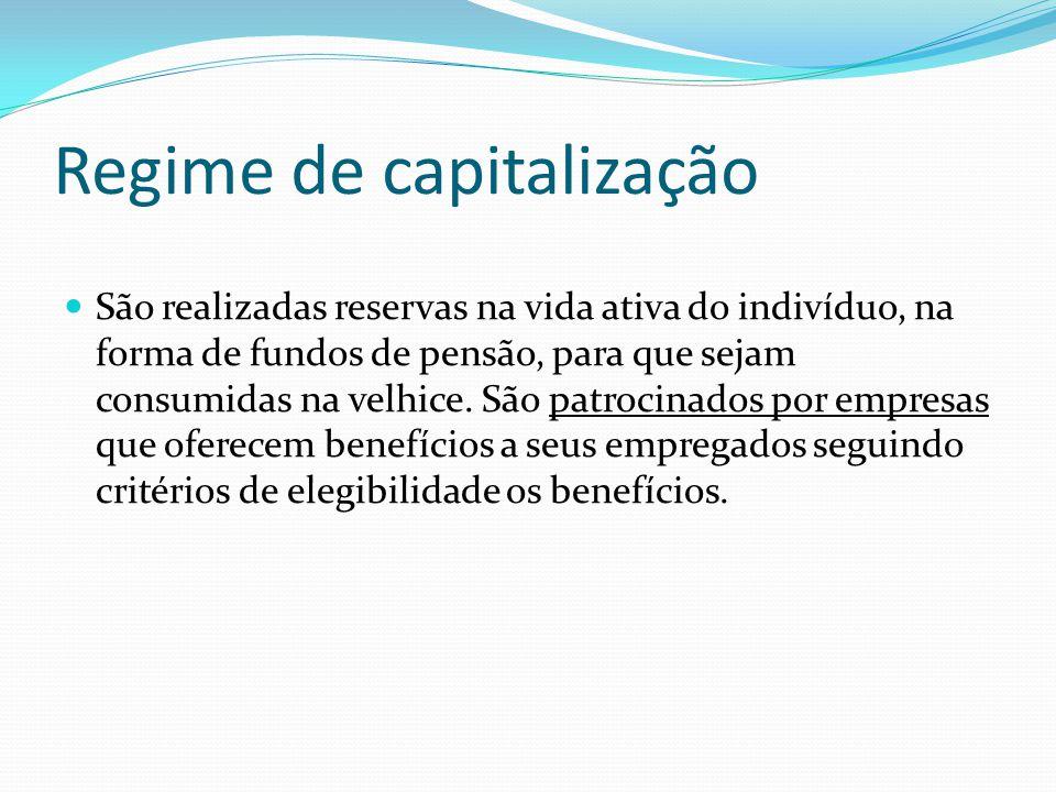 Regime de capitalização São realizadas reservas na vida ativa do indivíduo, na forma de fundos de pensão, para que sejam consumidas na velhice. São pa