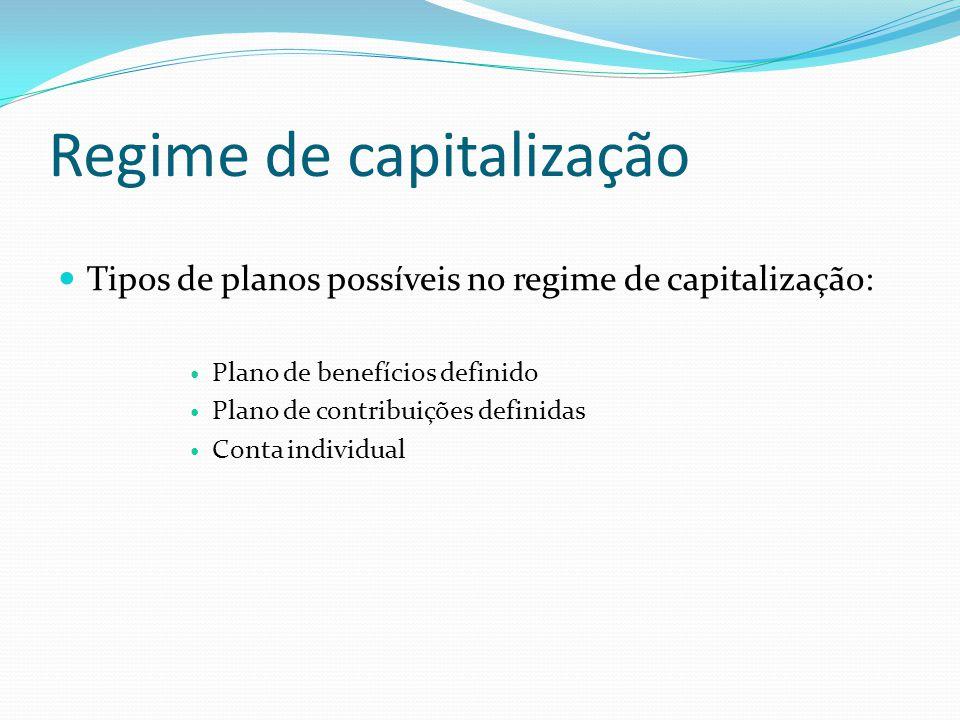 Regime de capitalização Tipos de planos possíveis no regime de capitalização: Plano de benefícios definido Plano de contribuições definidas Conta indi