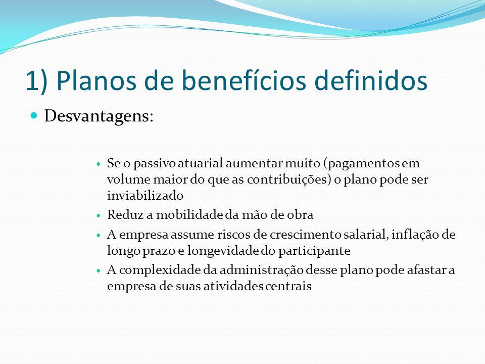 1) Planos de benefícios definidos Desvantagens: Se o passivo atuarial aumentar muito (pagamentos em volume maior do que as contribuições) o plano pode