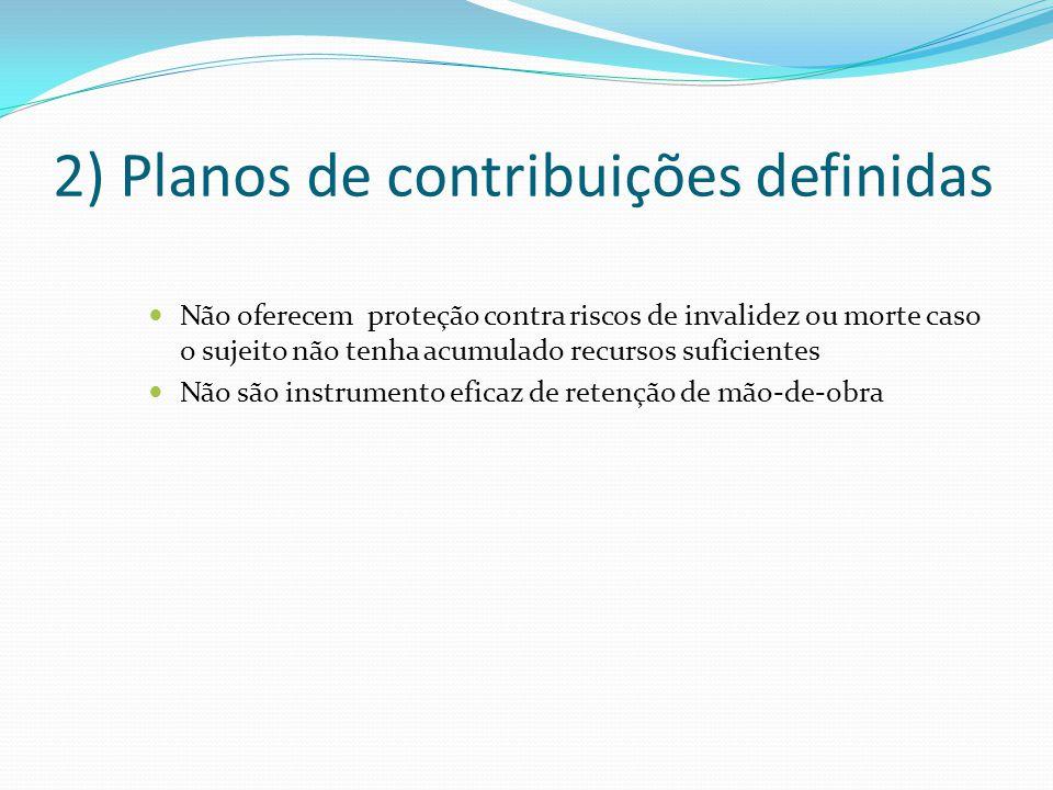 2) Planos de contribuições definidas Não oferecem proteção contra riscos de invalidez ou morte caso o sujeito não tenha acumulado recursos suficientes