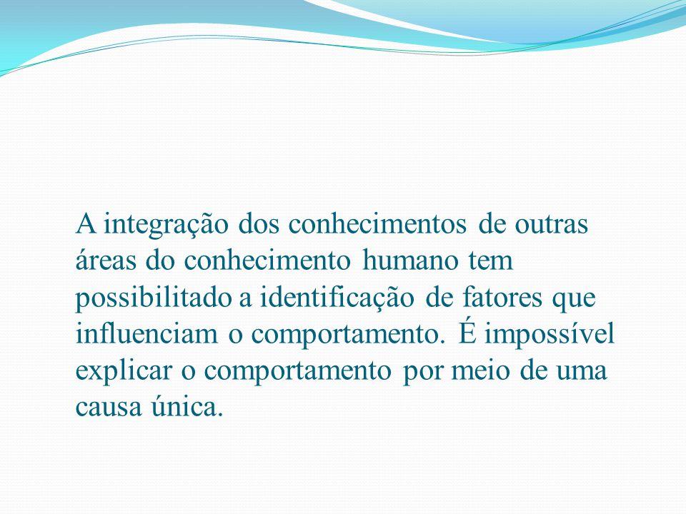 A integração dos conhecimentos de outras áreas do conhecimento humano tem possibilitado a identificação de fatores que influenciam o comportamento. É