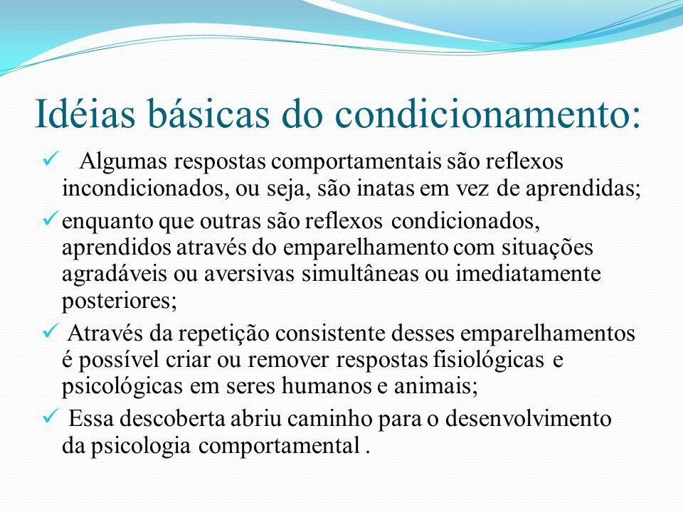 Idéias básicas do condicionamento: Algumas respostas comportamentais são reflexos incondicionados, ou seja, são inatas em vez de aprendidas; enquanto