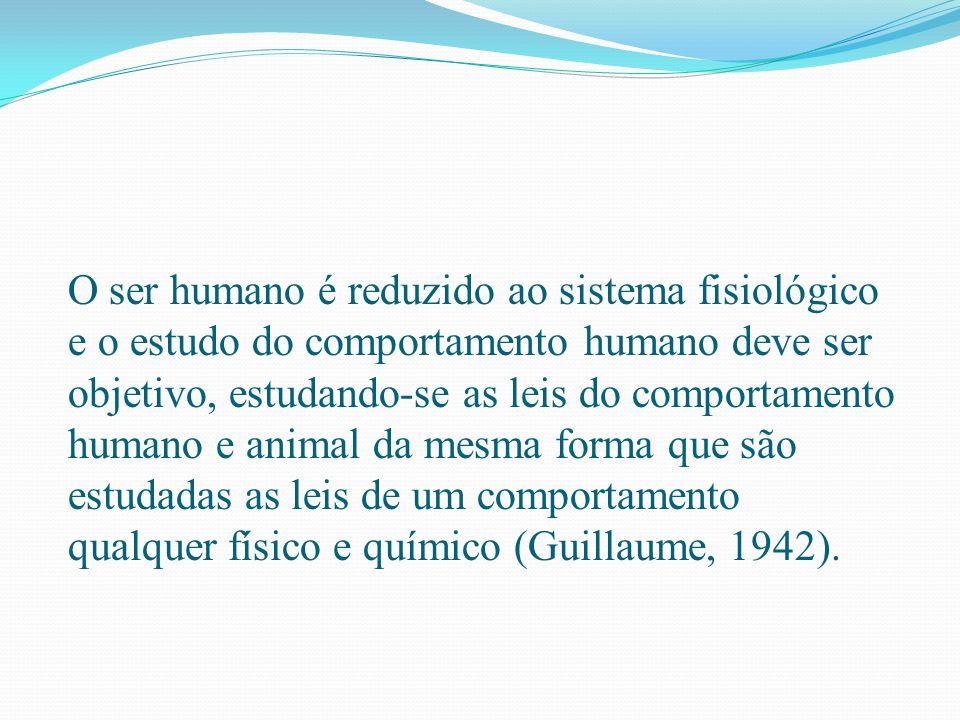 O ser humano é reduzido ao sistema fisiológico e o estudo do comportamento humano deve ser objetivo, estudando-se as leis do comportamento humano e an