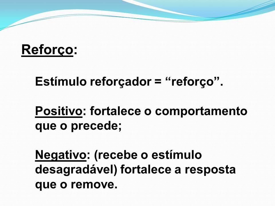 """Reforço: Estímulo reforçador = """"reforço"""". Positivo: fortalece o comportamento que o precede; Negativo: (recebe o estímulo desagradável) fortalece a re"""