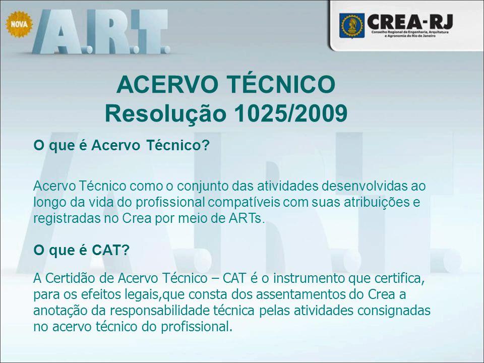 Acervo Técnico como o conjunto das atividades desenvolvidas ao longo da vida do profissional compatíveis com suas atribuições e registradas no Crea po