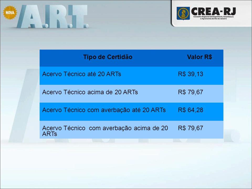 Tipo de CertidãoValor R$ Acervo Técnico até 20 ARTsR$ 39,13 Acervo Técnico acima de 20 ARTsR$ 79,67 Acervo Técnico com averbação até 20 ARTsR$ 64,28 A
