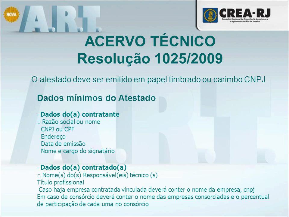 ACERVO TÉCNICO Resolução 1025/2009 Dados mínimos do Atestado - Dados do(a) contratante Razão social ou nome CNPJ ou CPF Endereço Data de emissão Nome