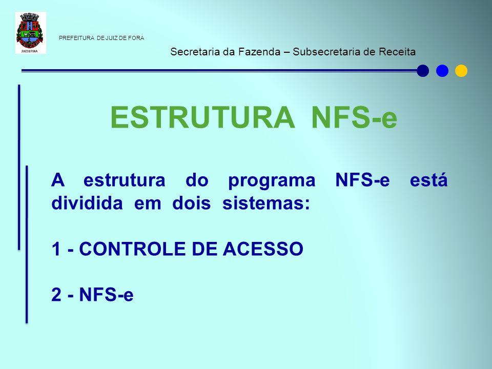 PREFEITURA DE JUIZ DE FORA Secretaria da Fazenda – Subsecretaria de Receita A estrutura do programa NFS-e está dividida em dois sistemas: 1 - CONTROLE