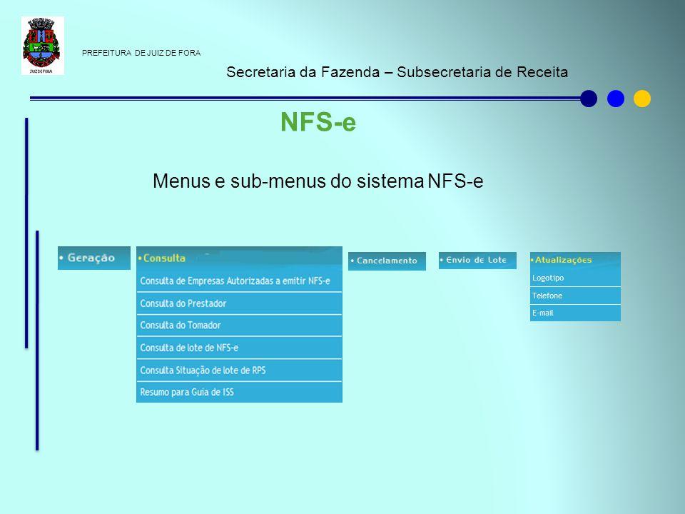 PREFEITURA DE JUIZ DE FORA Secretaria da Fazenda – Subsecretaria de Receita NFS-e Menus e sub-menus do sistema NFS-e