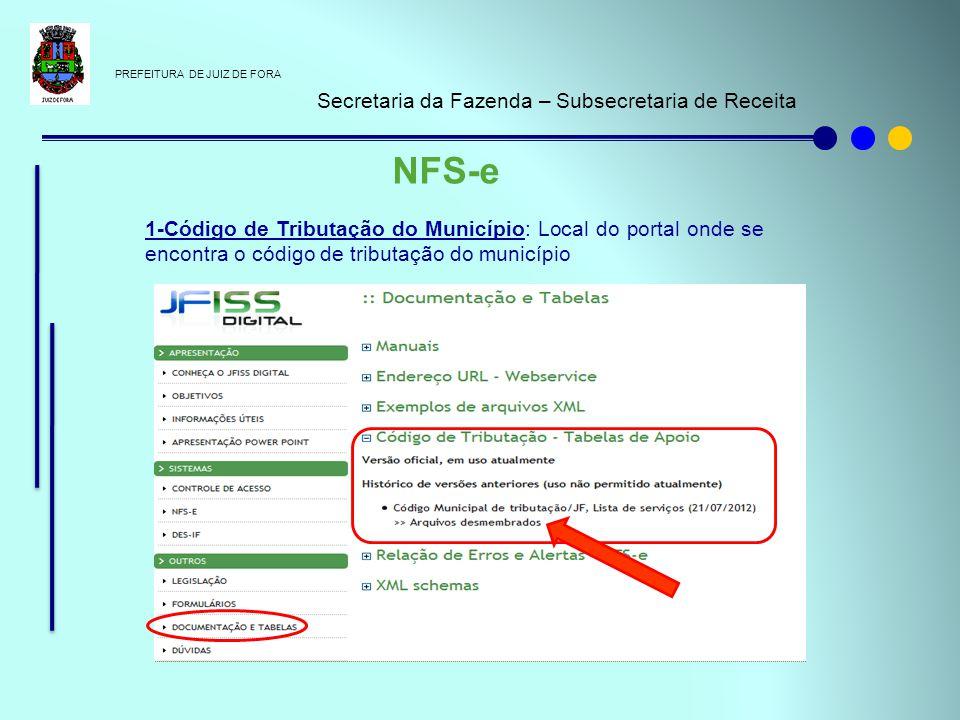 PREFEITURA DE JUIZ DE FORA Secretaria da Fazenda – Subsecretaria de Receita NFS-e 1-Código de Tributação do Município: Local do portal onde se encontr