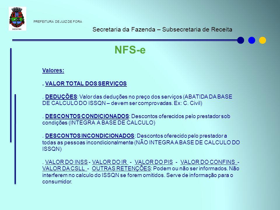 PREFEITURA DE JUIZ DE FORA Secretaria da Fazenda – Subsecretaria de Receita NFS-e Valores:. VALOR TOTAL DOS SERVIÇOS. DEDUÇÕES: Valor das deduções no