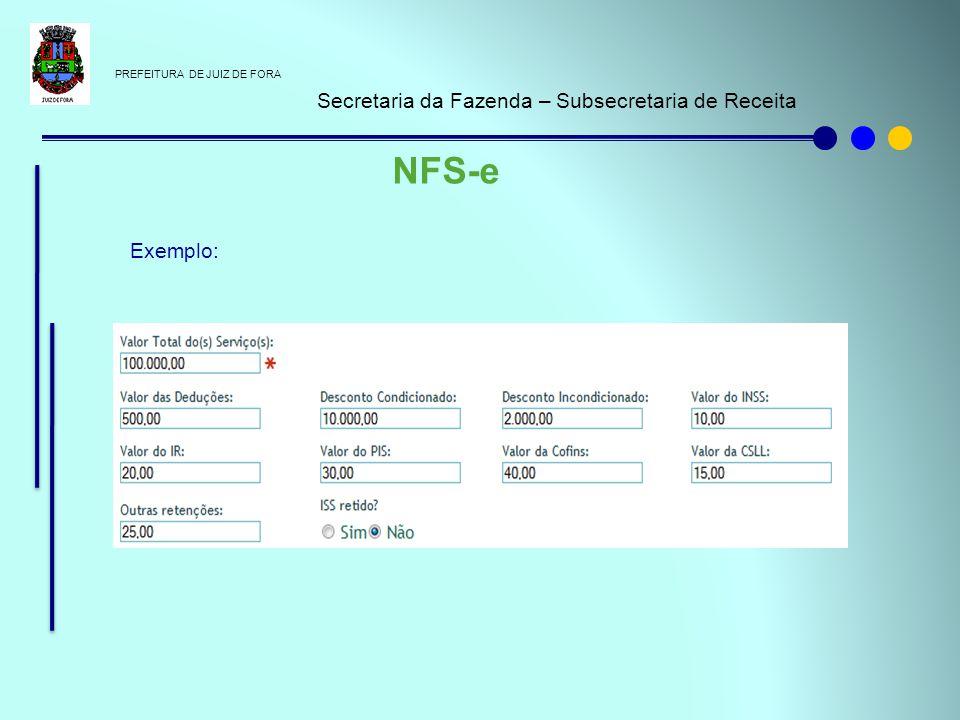 PREFEITURA DE JUIZ DE FORA Secretaria da Fazenda – Subsecretaria de Receita NFS-e Exemplo: