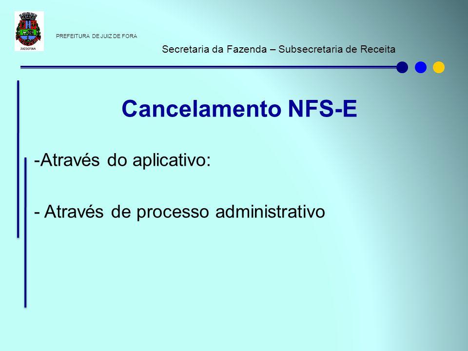 PREFEITURA DE JUIZ DE FORA Secretaria da Fazenda – Subsecretaria de Receita -Através do aplicativo: - Através de processo administrativo Cancelamento