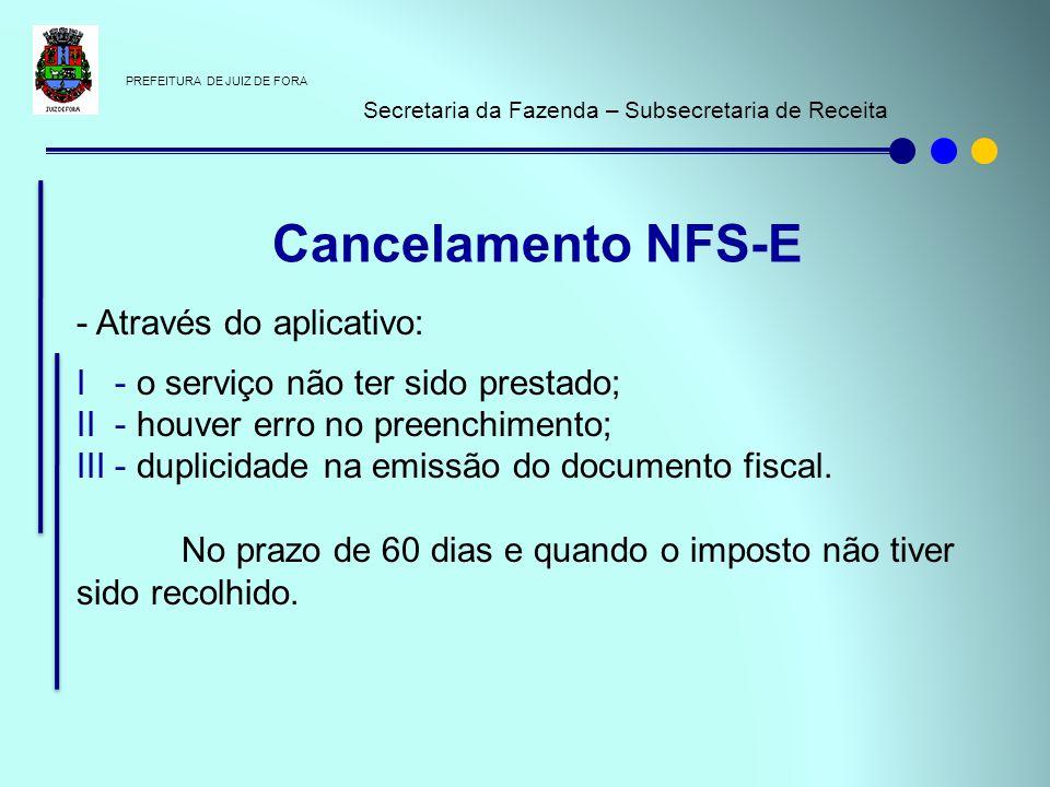 PREFEITURA DE JUIZ DE FORA Secretaria da Fazenda – Subsecretaria de Receita - Através do aplicativo: I - o serviço não ter sido prestado; II - houver