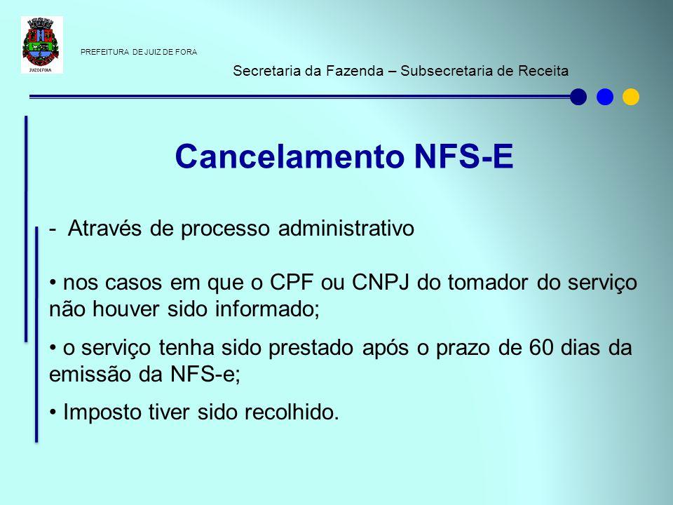 PREFEITURA DE JUIZ DE FORA Secretaria da Fazenda – Subsecretaria de Receita - Através de processo administrativo nos casos em que o CPF ou CNPJ do tom