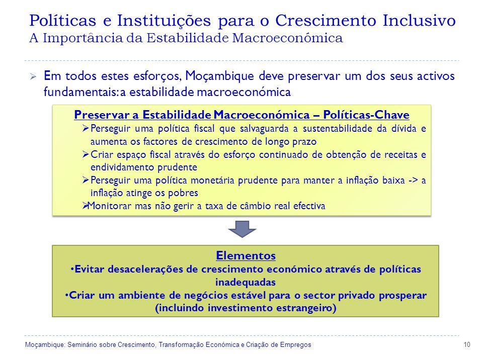 Políticas e Instituições para o Crescimento Inclusivo A Importância da Estabilidade Macroeconómica 10  Em todos estes esforços, Moçambique deve preservar um dos seus activos fundamentais: a estabilidade macroeconómica Preservar a Estabilidade Macroeconómica – Políticas-Chave  Perseguir uma política fiscal que salvaguarda a sustentabilidade da dívida e aumenta os factores de crescimento de longo prazo  Criar espaço fiscal através do esforço continuado de obtenção de receitas e endividamento prudente  Perseguir uma política monetária prudente para manter a inflação baixa -> a inflação atinge os pobres  Monitorar mas não gerir a taxa de câmbio real efectiva Preservar a Estabilidade Macroeconómica – Políticas-Chave  Perseguir uma política fiscal que salvaguarda a sustentabilidade da dívida e aumenta os factores de crescimento de longo prazo  Criar espaço fiscal através do esforço continuado de obtenção de receitas e endividamento prudente  Perseguir uma política monetária prudente para manter a inflação baixa -> a inflação atinge os pobres  Monitorar mas não gerir a taxa de câmbio real efectiva Elementos Evitar desacelerações de crescimento económico através de políticas inadequadas Criar um ambiente de negócios estável para o sector privado prosperar (incluindo investimento estrangeiro) Moçambique: Seminário sobre Crescimento, Transformação Económica e Criação de Empregos