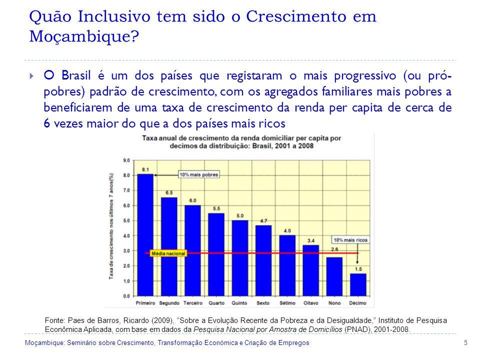 5  O Brasil é um dos países que registaram o mais progressivo (ou pró- pobres) padrão de crescimento, com os agregados familiares mais pobres a beneficiarem de uma taxa de crescimento da renda per capita de cerca de 6 vezes maior do que a dos países mais ricos Fonte: Paes de Barros, Ricardo (2009), Sobre a Evolução Recente da Pobreza e da Desigualdade, Instituto de Pesquisa Econômica Aplicada, com base em dados da Pesquisa Nacional por Amostra de Domicílios (PNAD), 2001-2008.