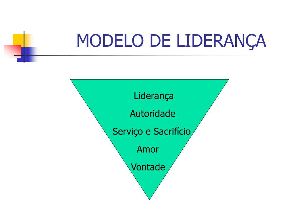 MODELO DE LIDERANÇA Liderança Autoridade Serviço e Sacrifício Amor Vontade