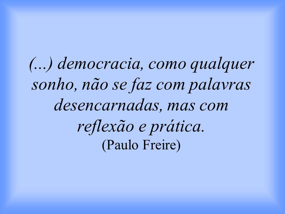 (...) democracia, como qualquer sonho, não se faz com palavras desencarnadas, mas com reflexão e prática.