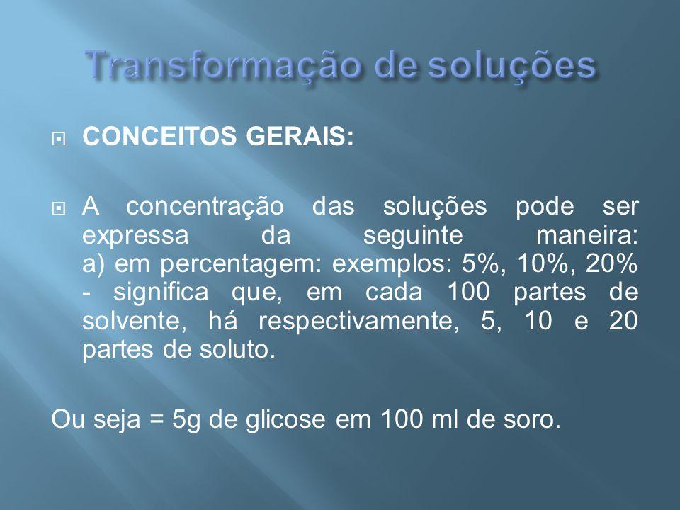  CONCEITOS GERAIS:  A concentração das soluções pode ser expressa da seguinte maneira: a) em percentagem: exemplos: 5%, 10%, 20% - significa que, em