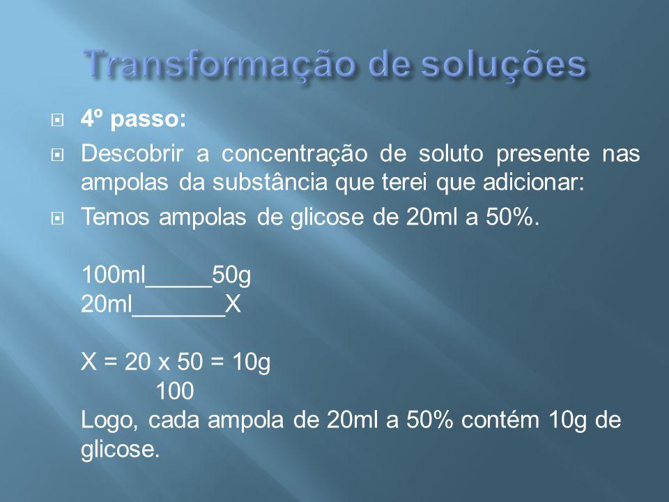  4º passo:  Descobrir a concentração de soluto presente nas ampolas da substância que terei que adicionar:  Temos ampolas de glicose de 20ml a 50%.
