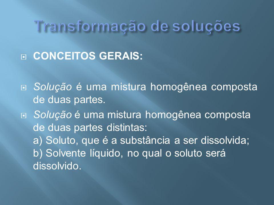  CONCEITOS GERAIS:  Solução é uma mistura homogênea composta de duas partes.  Solução é uma mistura homogênea composta de duas partes distintas: a)
