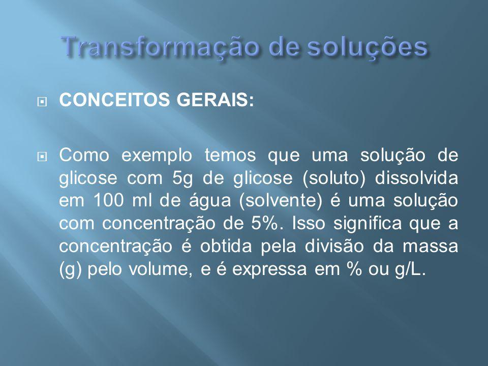  CONCEITOS GERAIS:  Como exemplo temos que uma solução de glicose com 5g de glicose (soluto) dissolvida em 100 ml de água (solvente) é uma solução c