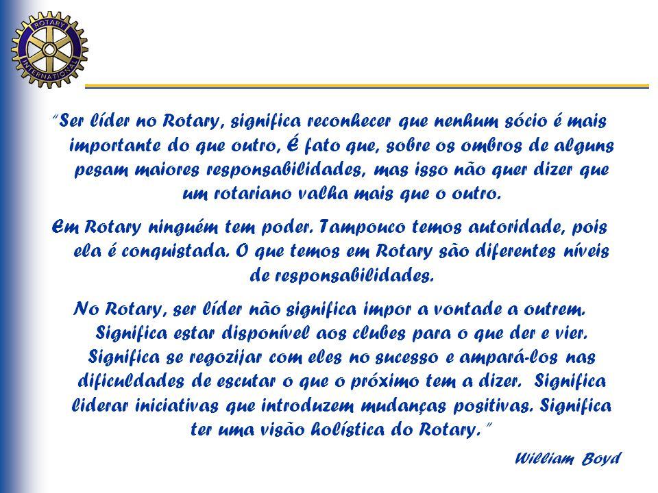 """""""Ser líder no Rotary, significa reconhecer que nenhum sócio é mais importante do que outro, É fato que, sobre os ombros de alguns pesam maiores respon"""