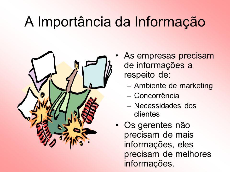 A Importância da Informação As empresas precisam de informações a respeito de: –Ambiente de marketing –Concorrência –Necessidades dos clientes Os gerentes não precisam de mais informações, eles precisam de melhores informações.