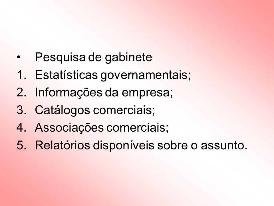 Pesquisa de gabinete 1.Estatísticas governamentais; 2.Informações da empresa; 3.Catálogos comerciais; 4.Associações comerciais; 5.Relatórios disponíveis sobre o assunto.