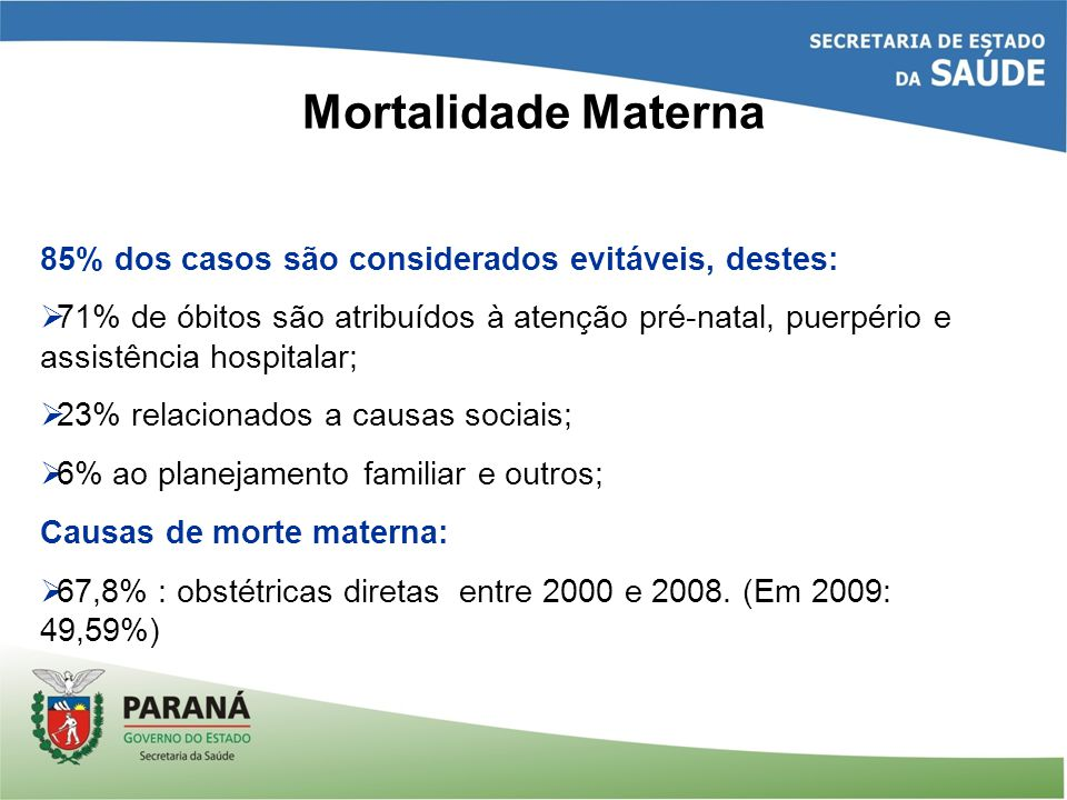 Mortalidade Materna 85% dos casos são considerados evitáveis, destes:  71% de óbitos são atribuídos à atenção pré-natal, puerpério e assistência hosp