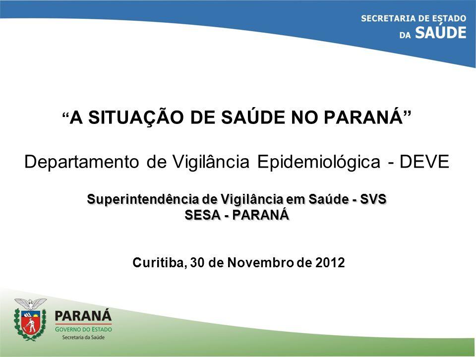Coeficiente de Mortalidade Infantil/1000 NV, segundo RS, 2011, Paraná Fonte: SIM//DVIEP/DEVE/SVS/SESA-Pr (*) Dados preliminares até Novembro/2012
