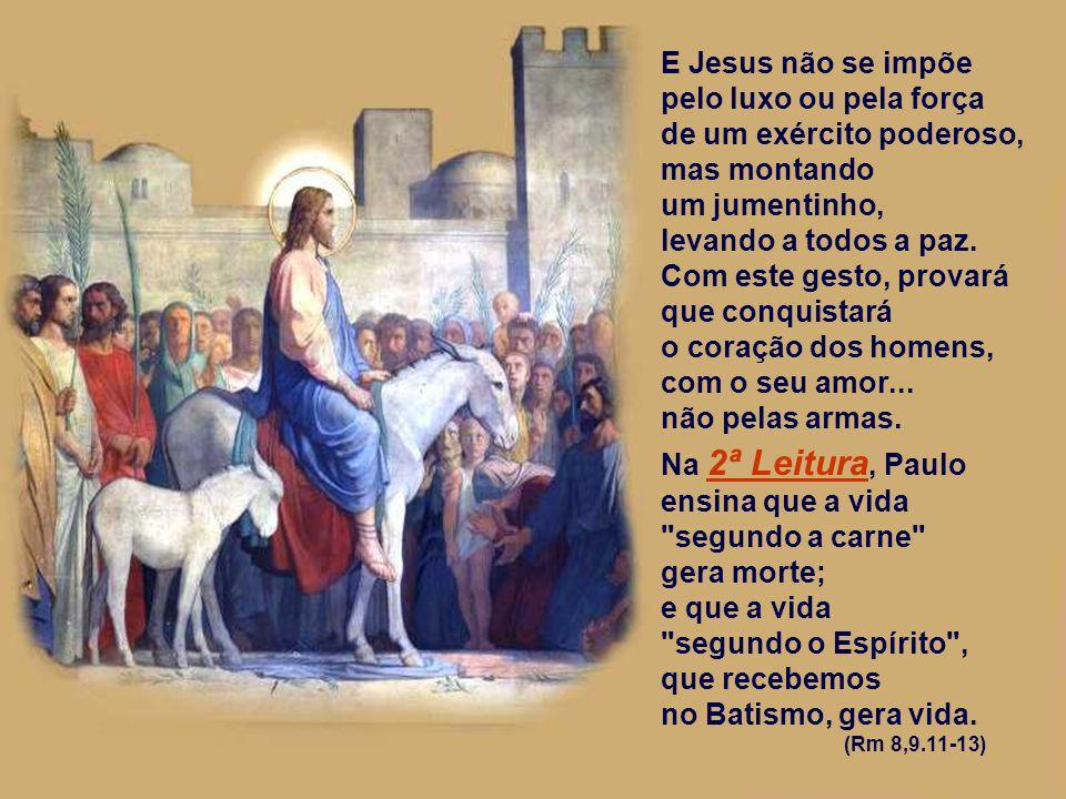 A 1ª Leitura descreve a volta do Rei vitorioso a Jerusalém. (Zc 9,9-10) O povo aguardava uma entrada triunfal e o profeta Zacarias anuncia uma entrada