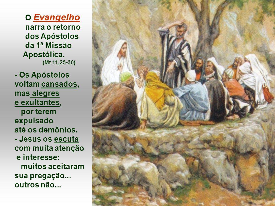 O Evangelho narra o retorno dos Apóstolos da 1ª Missão Apostólica.