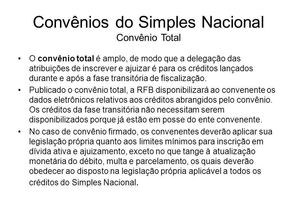 Convênios do Simples Nacional Convênio Total O convênio total é amplo, de modo que a delegação das atribuições de inscrever e ajuizar é para os crédit