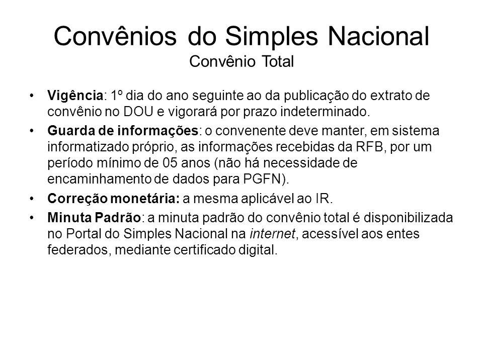 Convênios do Simples Nacional Convênio Total Vigência: 1º dia do ano seguinte ao da publicação do extrato de convênio no DOU e vigorará por prazo inde
