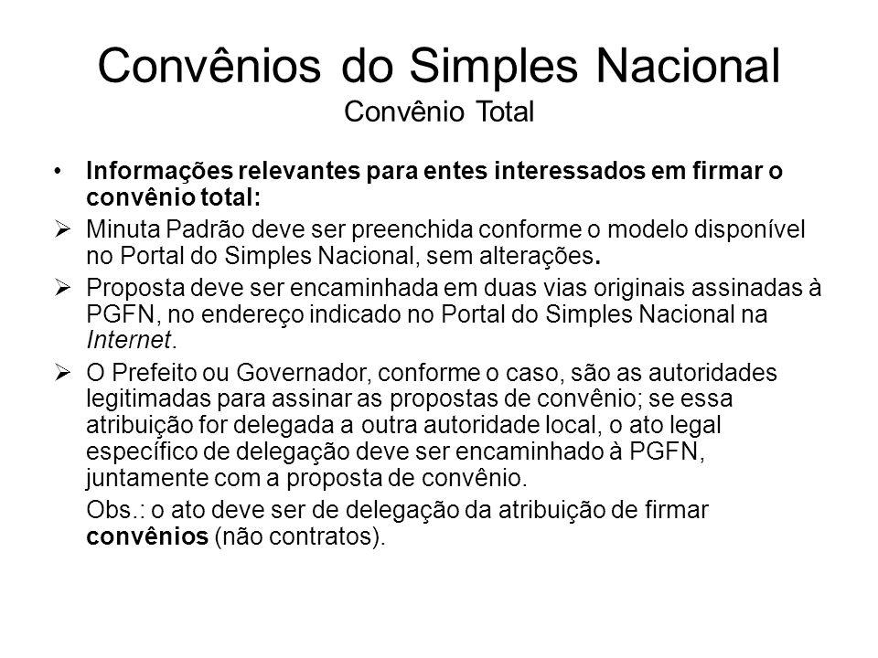 Convênios do Simples Nacional Convênio Total Informações relevantes para entes interessados em firmar o convênio total:  Minuta Padrão deve ser preen