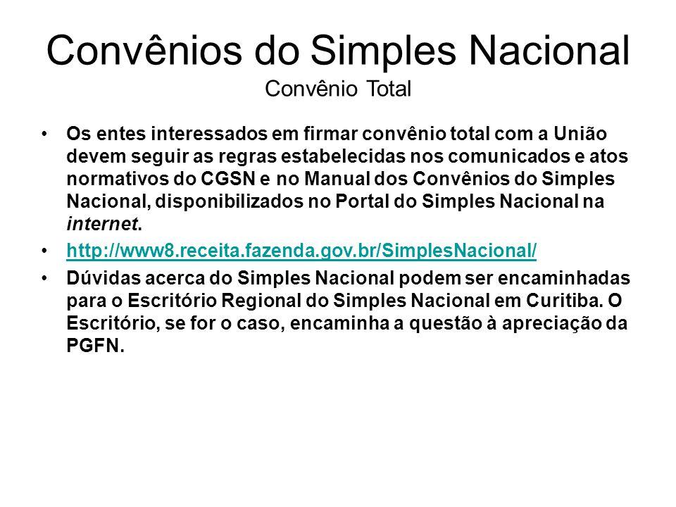 Convênios do Simples Nacional Convênio Total Os entes interessados em firmar convênio total com a União devem seguir as regras estabelecidas nos comun